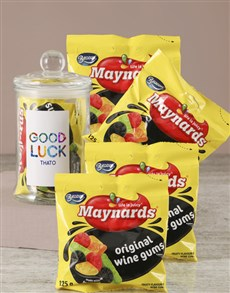 gifts: Personalised Good Luck Maynards Candy Jar!