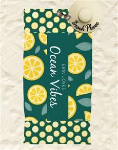 gifts: Personalised Ocean Vibes Beach Towel And Bag!