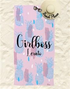 gifts: Personalised Girlboss Beach Towel And Bag!