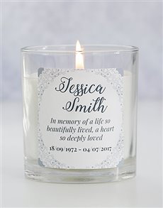 gifts: Personalised In Memory Doily Candle!