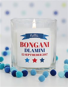 gifts: Personalised Hello New Baby Boy Candle!