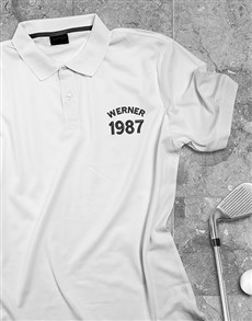 gifts: Personalised Name And Year White Polo Shirt!