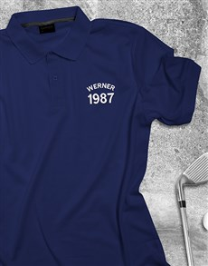 gifts: Personalised Navy Name And Year Polo Shirt!