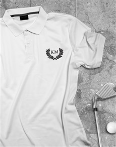 gifts: Personalised Wreath Design White Polo Shirt!