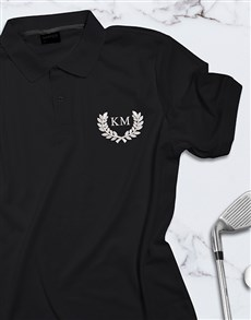 gifts: Personalised Wreath Design Black Polo Shirt !
