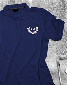 gifts: Personalised Wreath Design Navy Polo Shirt!