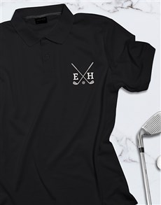 gifts: Personalised Golf Clubs Black Polo Shirt!
