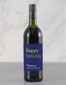gifts: Personalised Blue Birthday Rietvallei Wine!