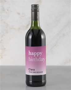 gifts: Personalised Pink Birthday Rietvallei Wine!