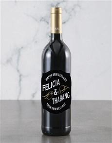 gifts: Personalised Happy Anniversary Backsberg Wine!