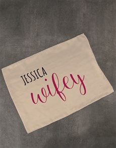 gifts: Personalised Wifey Gold Pillowcase!
