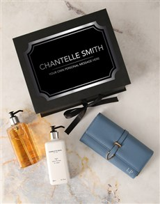 gifts: Personalised Blue Purse And Charlotte Rhys Hamper!