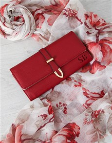 gifts: Personalised Red Purse And Floral Scarf Gift Set!