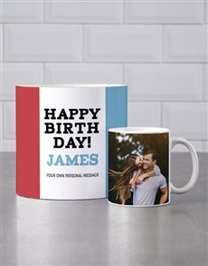 gifts: Personalised Red And Blue Birthday Mug Tube!