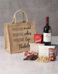 gifts: Personalised Wine And Treat Hessian Bag!