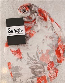 gifts: Personalised Red Floral Scarf in Box!