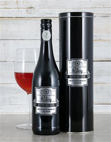 gifts: Personalised Silver Plaque Wine Tin!