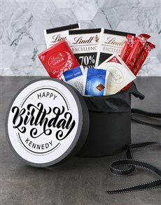 gifts: Personalised Happy Birthday Lindt Hat Box!