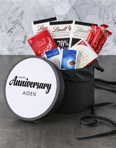 gifts: Personalised Happy Anniversary Lindt Hat Box!