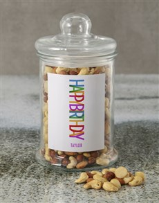 gifts: Personalised Happy Birthday Mixed Nuts Jar!