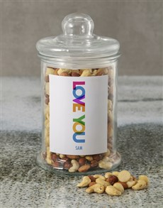 gifts: Personalised Love You Mixed Nuts Jar!