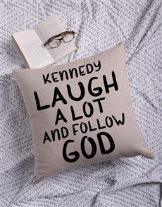 gifts: Personalised Follow God Cushion!