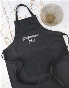 gifts: Personalised Message Black Apron Set!
