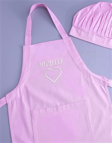 gifts: Personalised Name Heart Pink Apron!