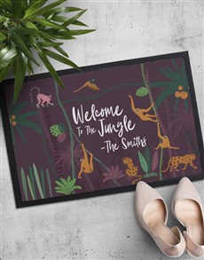 gifts: Personalised Welcome To The Jungle Doormat!