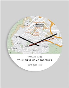 gifts: Personalised Map To First Home Clock!