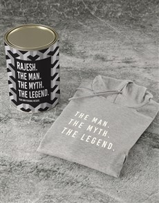 gifts: Personalised Grey Legendary Man Hoodie!