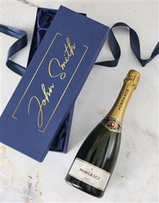 gifts: Personalised Blue Gift Box With Champagne!