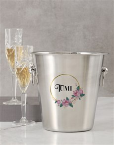 gifts: Personalised Name In Floral Design Ice Bucket!