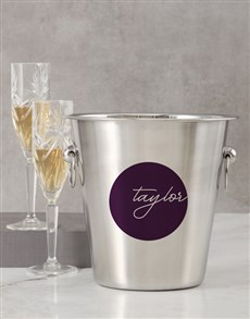 gifts: Personalised Round Label Ice Bucket!