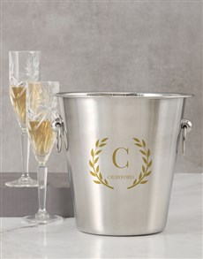 gifts: Personalised Initial And Leaf Ice Bucket!