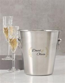 gifts: Personalised Two Name And Leaf Ice Bucket!