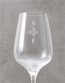 gifts: Personalised Floral Initial Wine Glass!