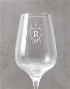 gifts: Personalised Royal Monogram Wine Glass!
