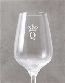 gifts: Personalised Crown Monogram Wine Glass!