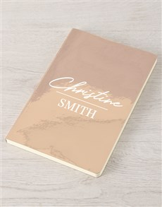 gifts: Personalised Name Rose Gold Notebook!