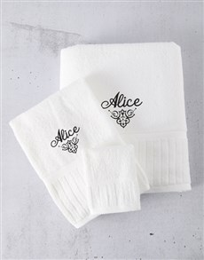 gifts: Personalised White And Black Towel Set!