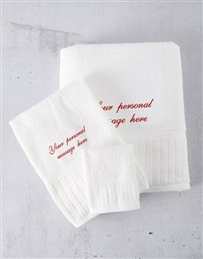 gifts: Personalised White And Red Towel Set!