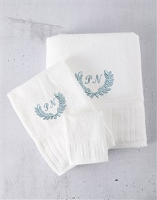 gifts: Personalised White And Blue Towel Set!