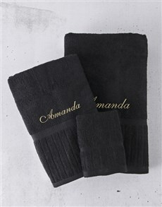 gifts: Personalised Black And Gold Towel Set!