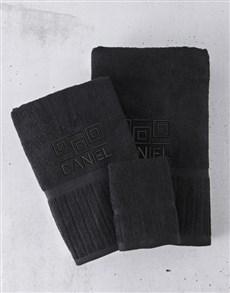 gifts: Personalised Black Towel Set!