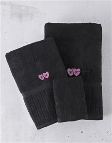 gifts: Personalised Black And Pink Towel Set!