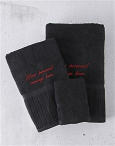 gifts: Personalised Black And Red Towel Set!