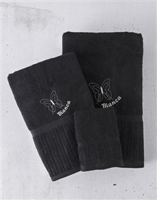gifts: Personalised Black And Blue Towel Set!