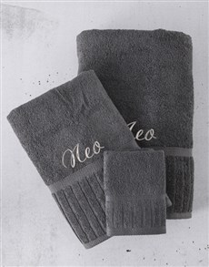 gifts: Personalised Charcoal And Silver Towel Set!