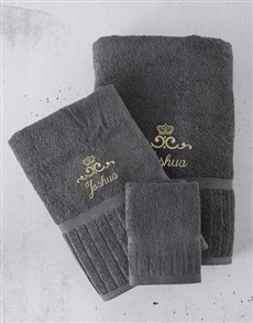 gifts: Personalised Charcoal And Gold Towel Set!